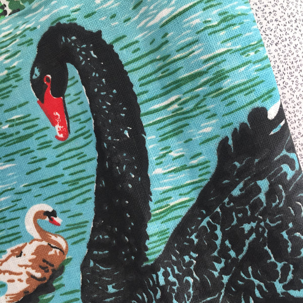 BLACK Swan Vintage Tea Towel PRINT Fabric PURE LINEN