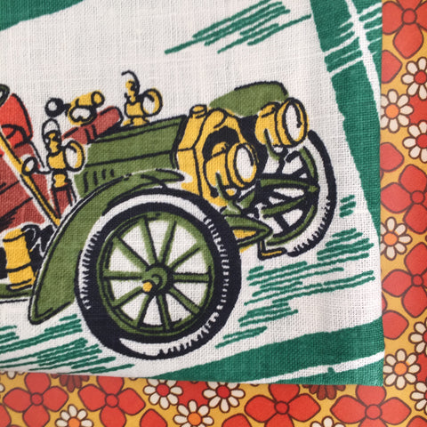 Cadillac Ford Rolls Royce CARS Vintage Tea Towel Pure Linen