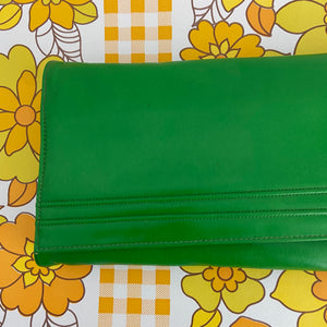 GREEN Faigen Clutch 80's Handbag Club Vintage