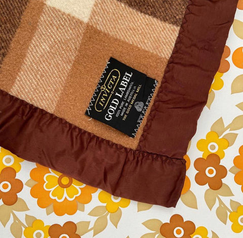 INVICTA Gold Label Brown Checked Retro 70's Wool Blanket