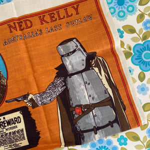 AWESOME Vintage NED KELLY Tea Towel Pure Linen BRIGHT Unused