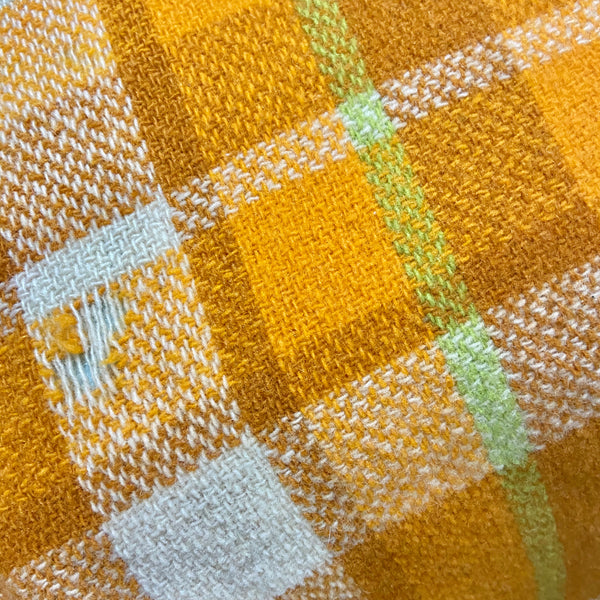 Orange Vintage Retro Checked Blanket Up Cycle 70's