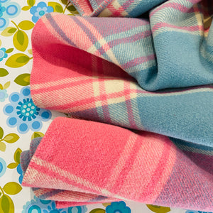 Wool Checked Blanket Pink & Blue Great Cond