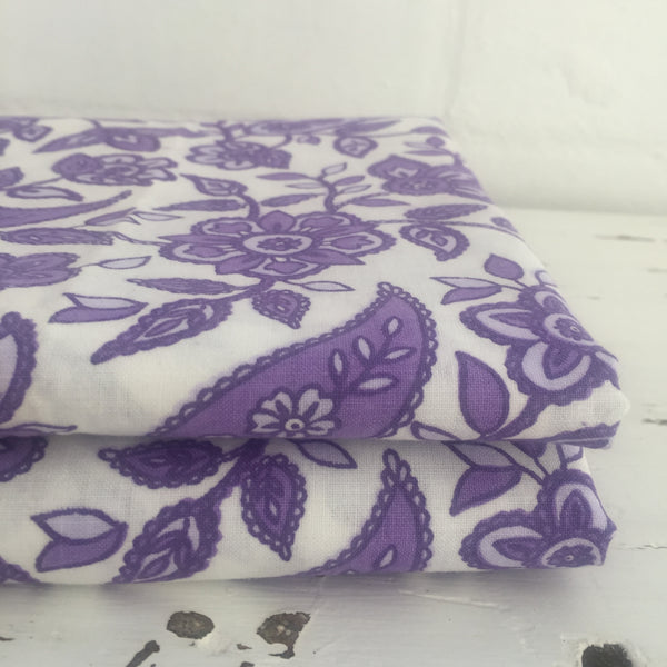 VINTAGE RETRO Cotton Sheet UNUSED Fabulous PURPLE