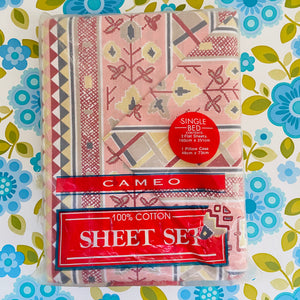 CAMEO 100% Cotton 2 FLAT SHEETS 1 Pillow CASE RETRO FUNKY FUN UNUSED