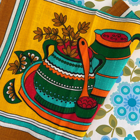 RETRO Kitchen 70's Cotton Tea Towel Bright unused Up cycle