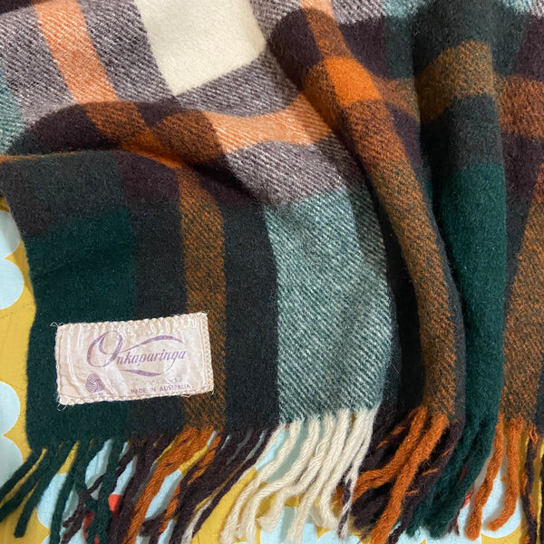Vintage Green & Brown Onkaparinga WOOL Checked Blanket