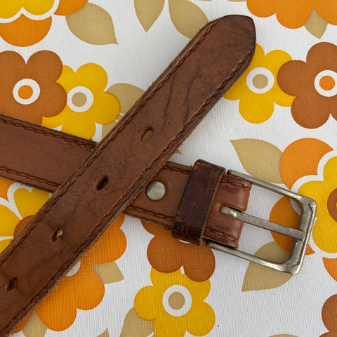 GENUINE Leather BELT Tan BOHO Rustic Vintage Hippy