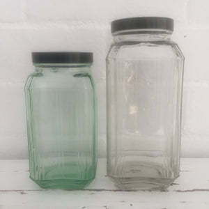 Art Deco Glass Jars Black Lid LOVELY Pair One Green Lolly