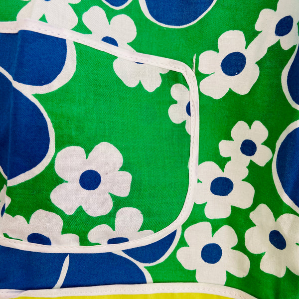 UNUSED Apron Retro Large Bold Flowers Cotton 70's