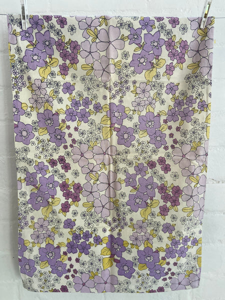 Retro Purple 70's Floral Pillow Cases COTTON Up Cycle CREATE