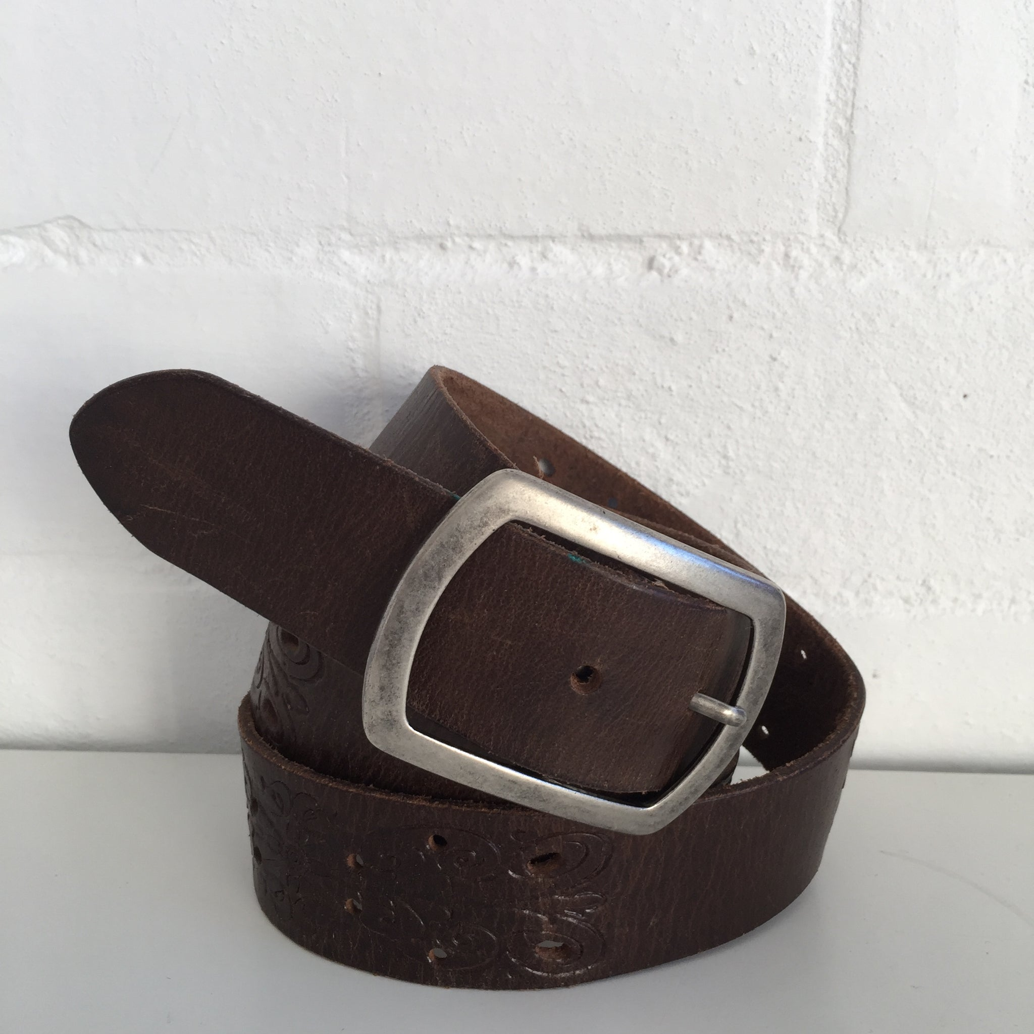 Hippy Festival EMBOSSED Worn RUSTIC BOHO BELT Genuine LEATHER Modern