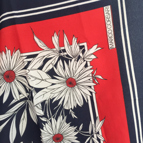 Marco Corsari Red & Navy Flower Polyester Square Scarf  Italy VINTAGE