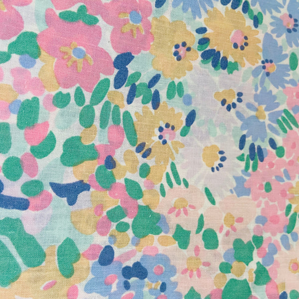 RETRO Cotton Floral Fabric Sheet Pinks Vintage Fabric 80's