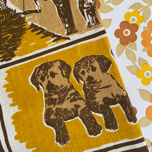 Vintage Handprinted Tea Towel DOGS Up Cycle UNUSED Crisp