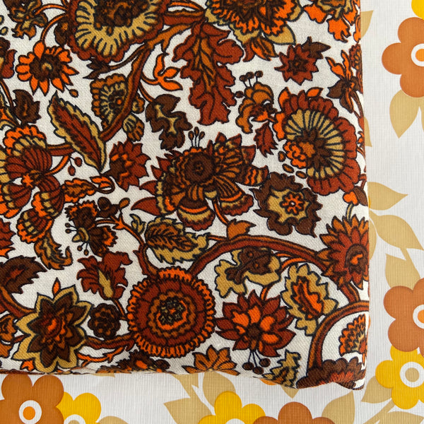 BROWN 70's Vintage Fabric Floral RETRO Craft Sewing 240cms