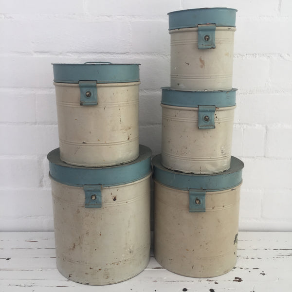 FABULOUS Vintage Canisters Chippy Farmhouse Kitchen Tin