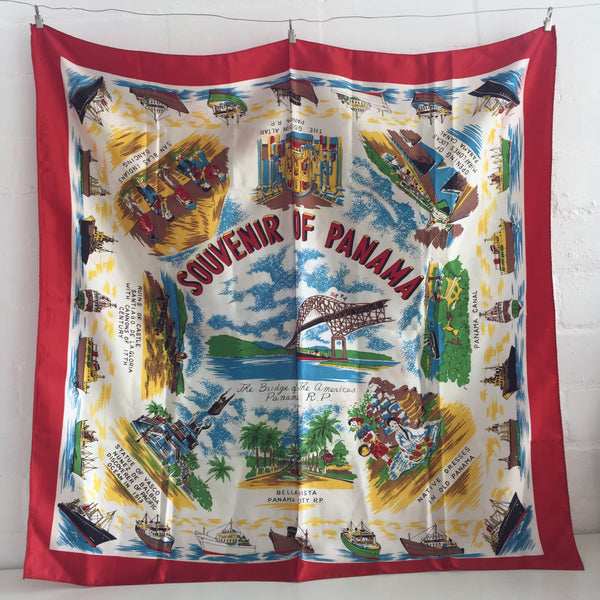 VINTAGE Souvenir COLLECTABLE Scarf PANAMA Cool PRINT Fashion