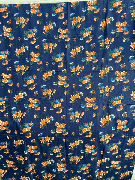 ALLAN Robison Vintage Blue Floral Cotton Fabric BRIGHT & Clean 200cms