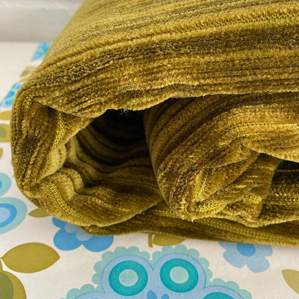Olive Green Velvet Heavy Weight Thick Upholstery Fabric 70's FABRIC