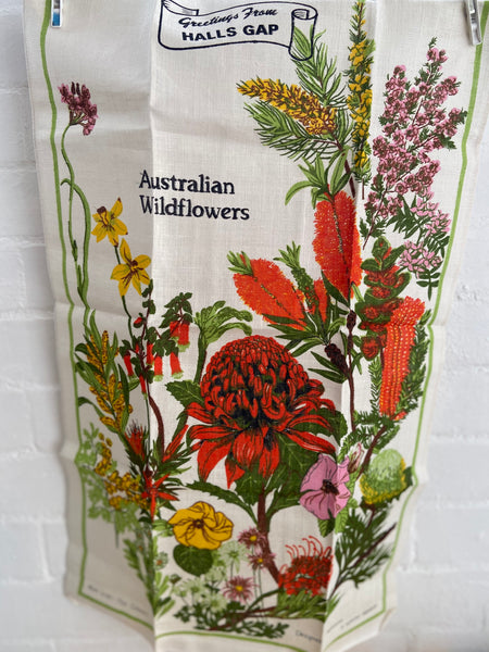 Stunning Vintage Tea Towel FLORAL Unused Retro Print Pure Linen