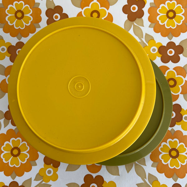 Tupperware RETRO Pair Bright Green & Yellow 70's