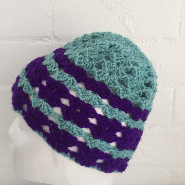 HANDMADE Blue & Purple Knitted BEANIE Winter ADORABLE Unused