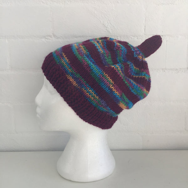 HANDMADE Stripes Funky Market Footy Knitted BEANIE Winter ADORABLE Unused