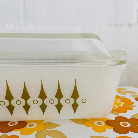 White with Gold Spears Pyrex Casserole PYREX Vintage Mid Century Kitchen AGEE