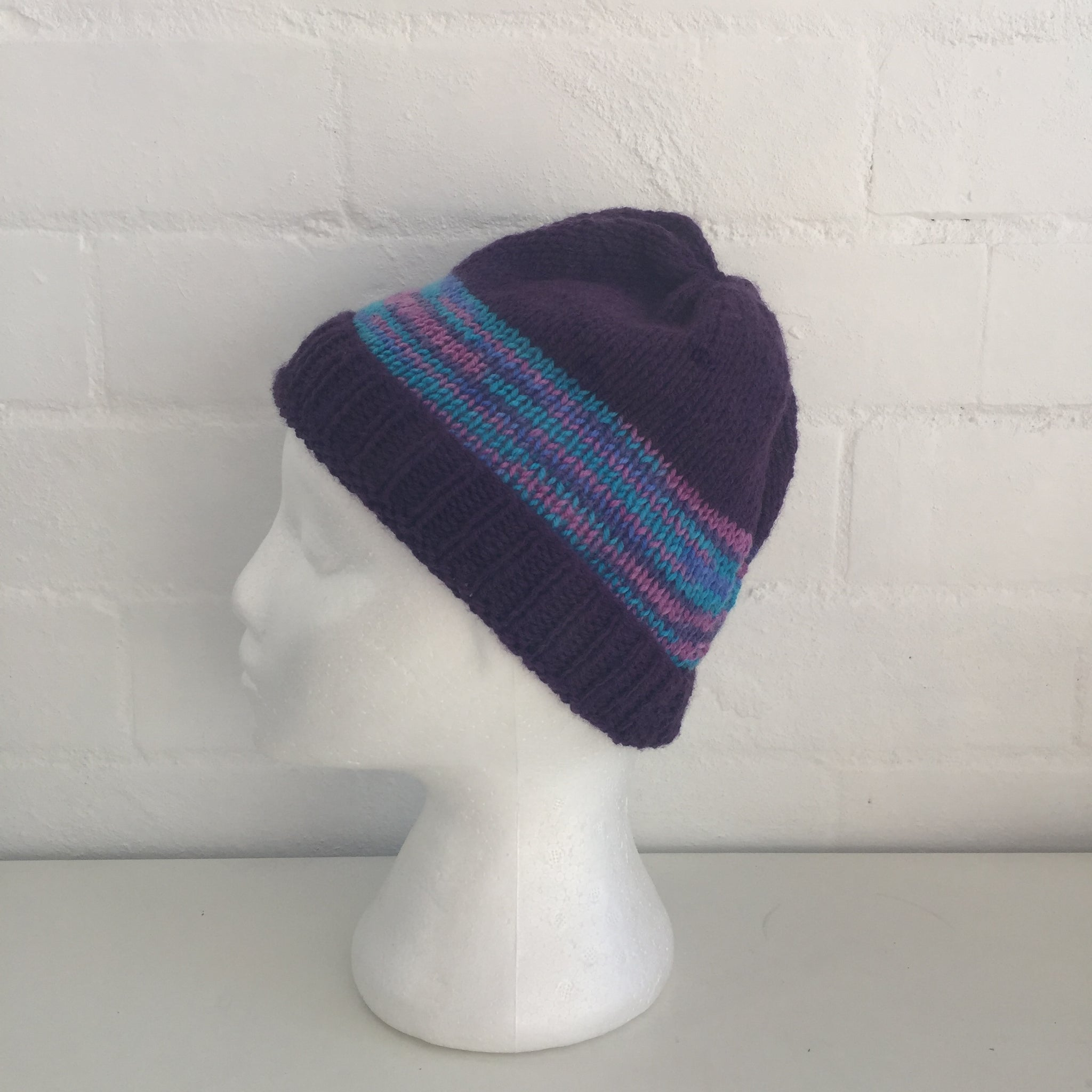 HANDMADE Purple Stripes Market Footy Knitted BEANIE Winter ADORABLE Unused