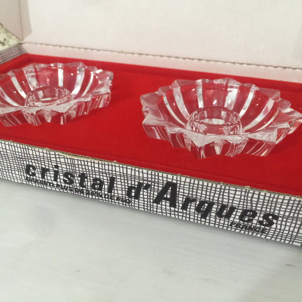 CRISTAL D'ARQUES France Candle Stands BOXED Vintage Glass D' Arques - Pink Peacock  - 1