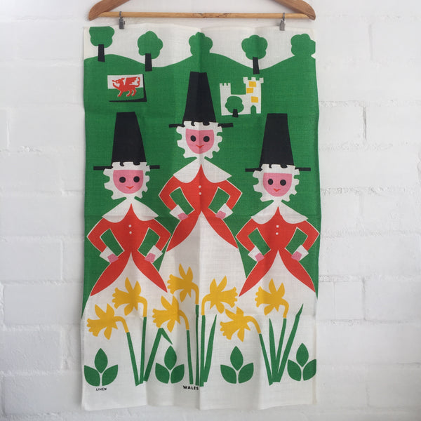 LINEN Vintage Tea Towel ADORABLE Wales Print UNUSED Wall Hanging