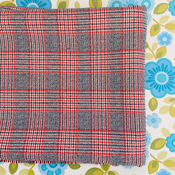 Large Vintage Checked Vintage Fabric Sewing Clothing