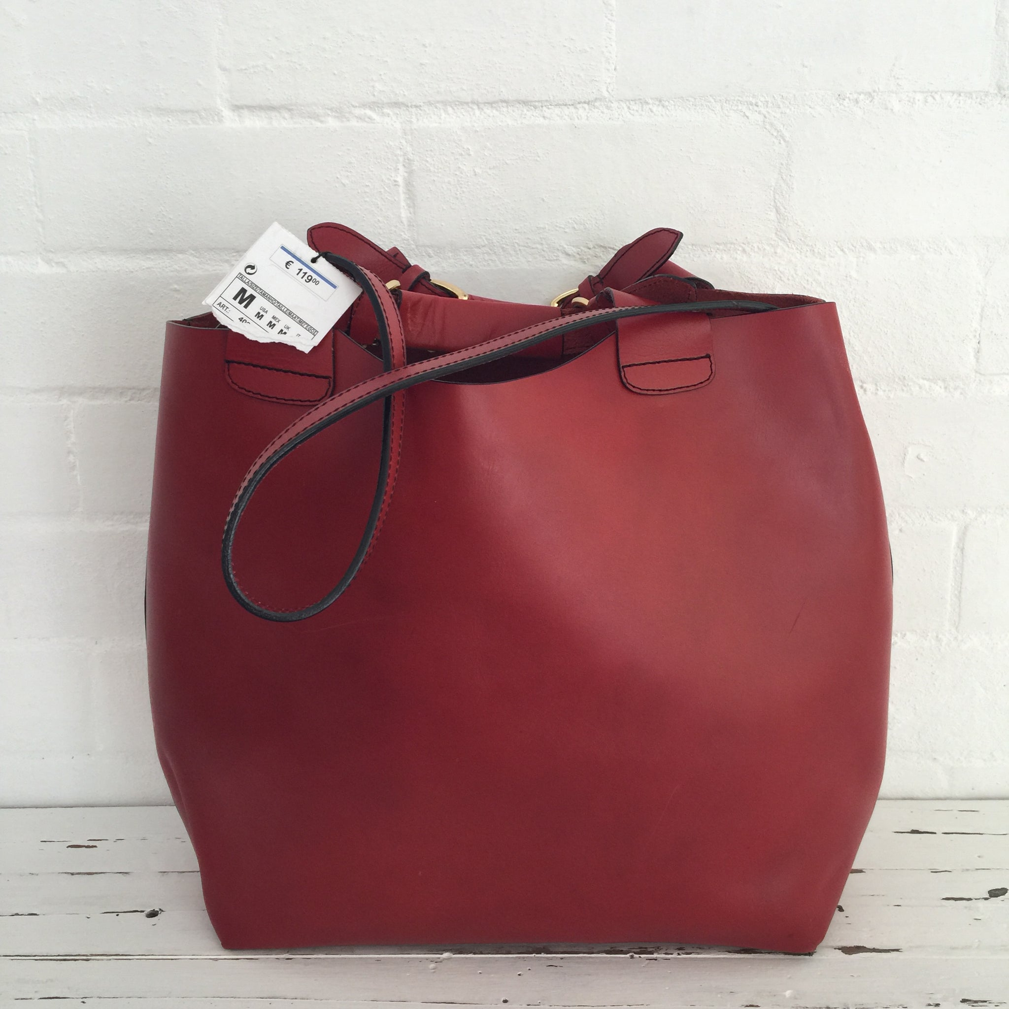 ZARA with TAG Bucket Bag Genuine LEATHER Red Handbag