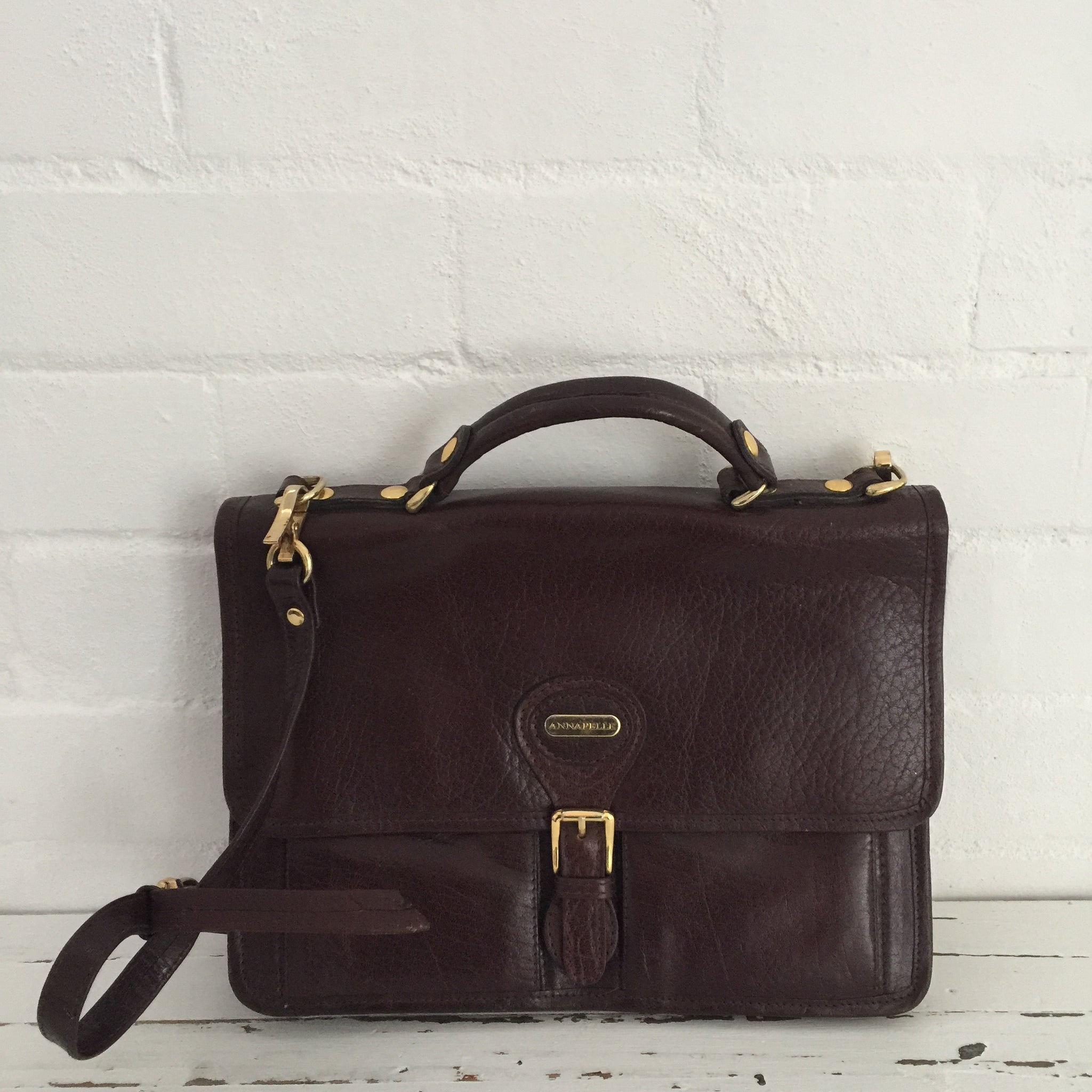 Annapelle Satchel Vintage GENUINE LEATHER Handbag UNI SCHOOL