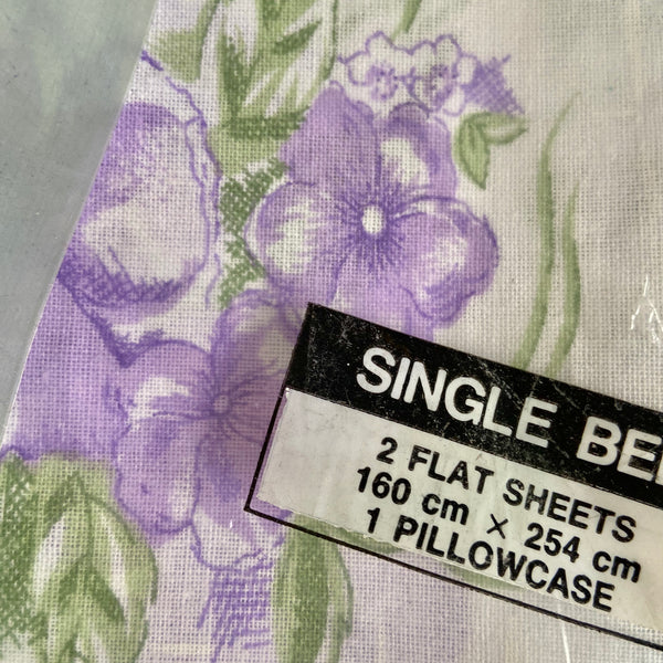 PURE Cotton New Old Stock Sheet SET 2 Flat Plus Pillow case