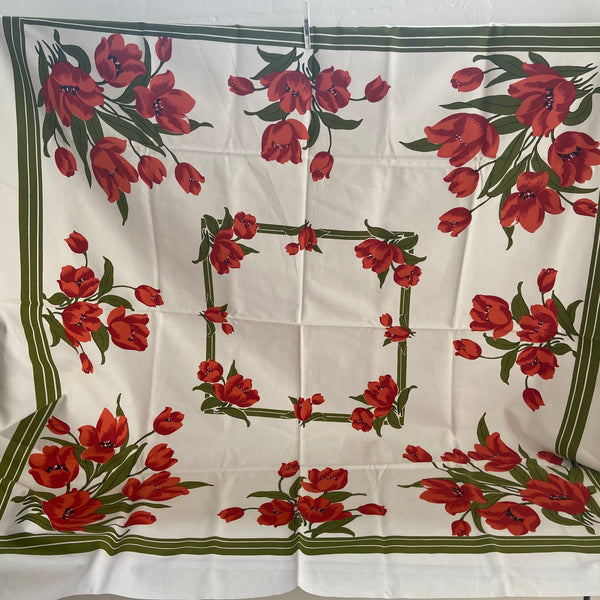 Adorable Cotton Vintage FLORAL Table Cloth Caravan PICNIC