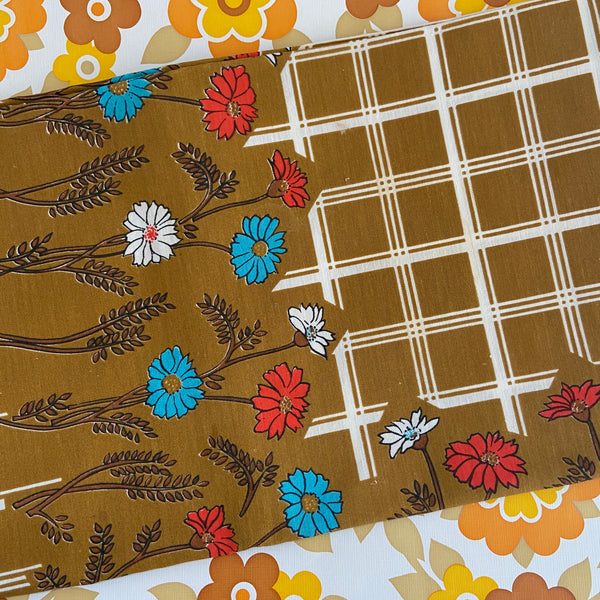 Vintage Card Table Cotton Table Cloth Floral Bright & Crisp