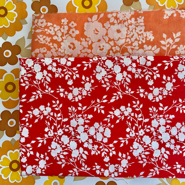 Cute Pair Cotton Modern Floral Fabric LARGE Amount