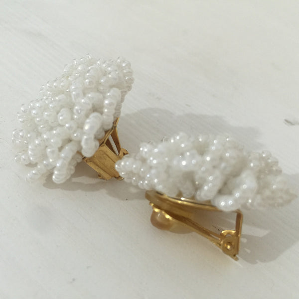 VINTAGE Beaded CLUSTERS Clip ON EARRINGS White RETRO Fun & FAB - Pink Peacock  - 2
