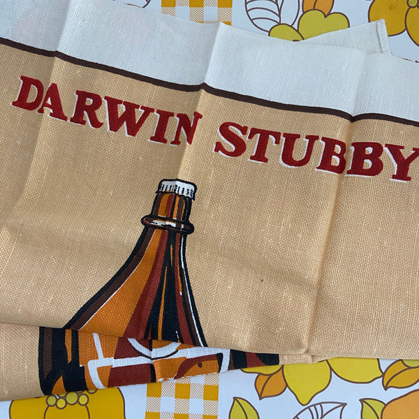 DARWIN Stubby Tea Towel UNUSED Up Cycle RETRO