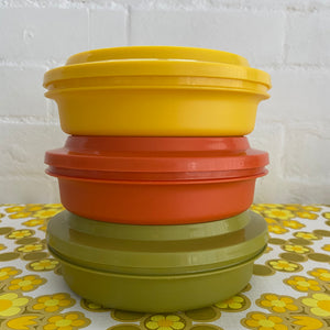 Stack of Tupperware Three Colours Retro 70's Kitchen