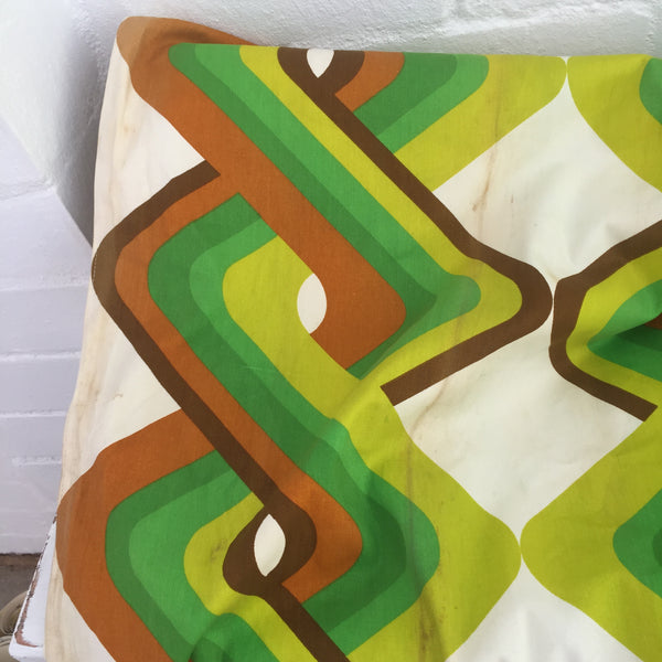 TWO HUGE Curtain Panels Screen Printed 70's Greens FABRIC
