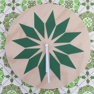 Modern Green Wall Clock Made with Pine