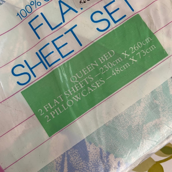 Cotton Sheets TARGET Old Stock 100% Cotton RETRO Fabric Bed Queen & Pillow Cases