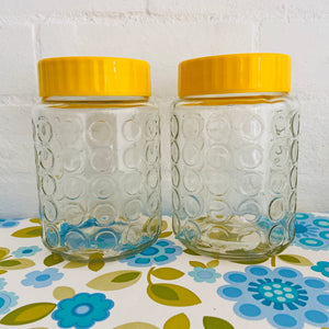 Vintage Glass Jars Yellow Lids COOL Retro Kitchen Sewing Storage