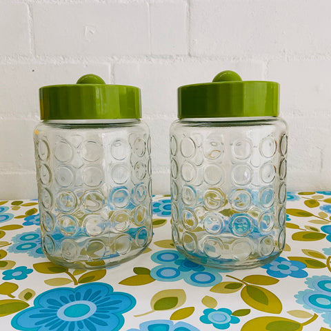 Vintage Green Jars GLASS Craft Buttons Kitchen 70's