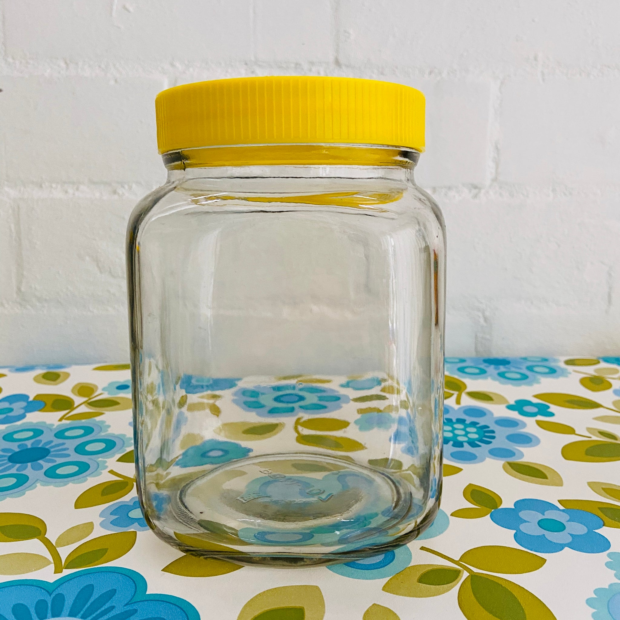 Stunning Yellow Glass Jars CRAFT Sewing LOVE it! Vintage Home