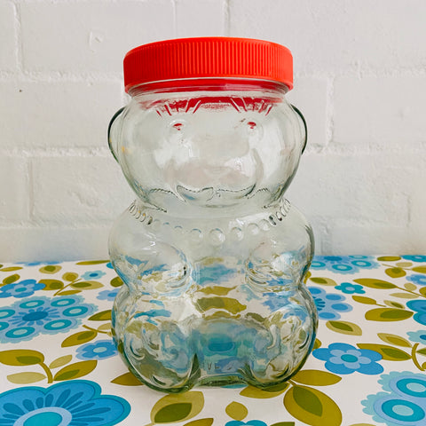 Fabulous Vintage Glass Jar Craft Sewing Kitchen 70's Fun