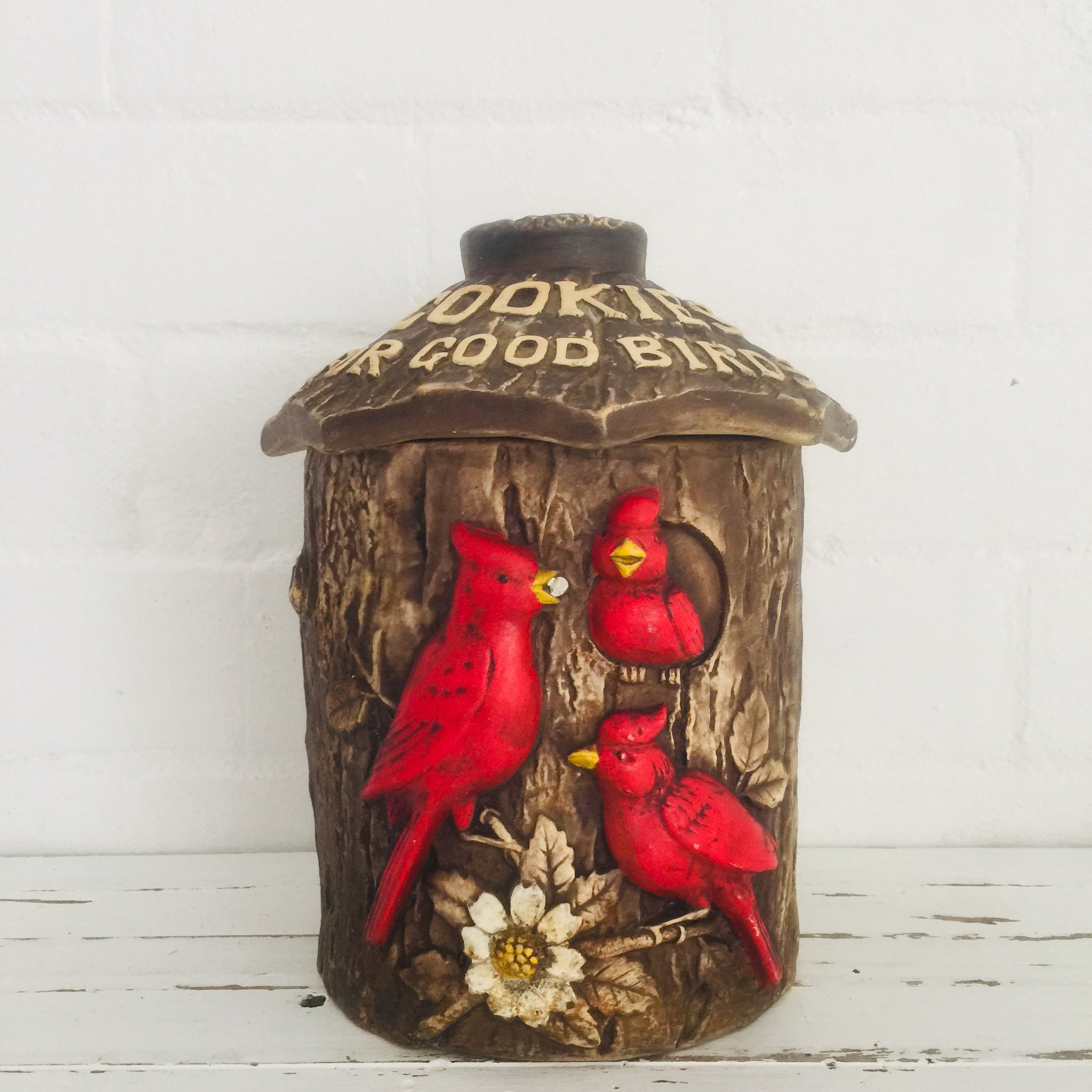 Red Birds Japan Bird Cooke Jar RARE Collectable KITSCH